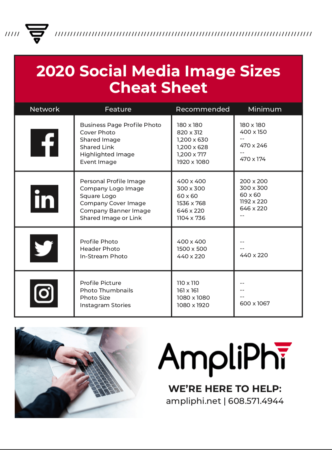 Social Media Image Sizes To Use In The Year 2020 Ampliphi