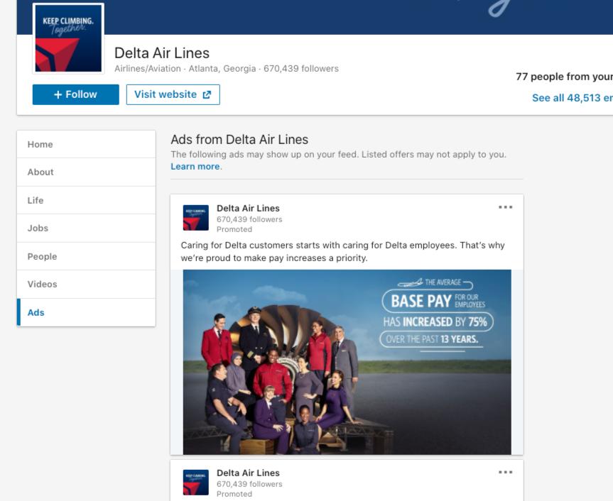 Delta Airlines LinkedIn