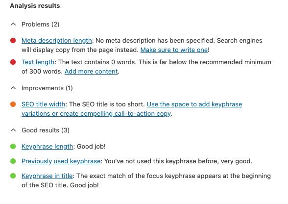 Yoast SEO Checklist Analysis