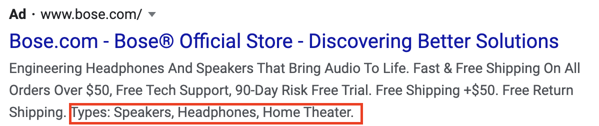 Google Ad Structured Snippet Extension Example