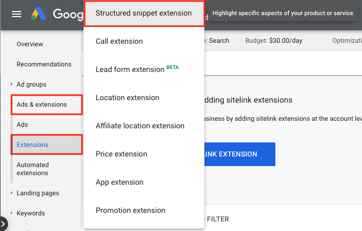 Google Ads Structured Snippet Extension
