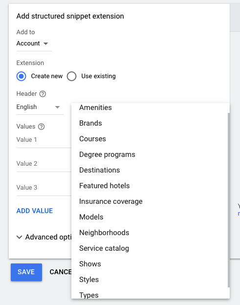 Screen shot of Google Ads Structured Snippet Creation