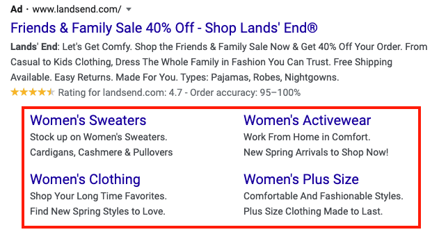 Screen shot of Google Ads Sitelinks extension example
