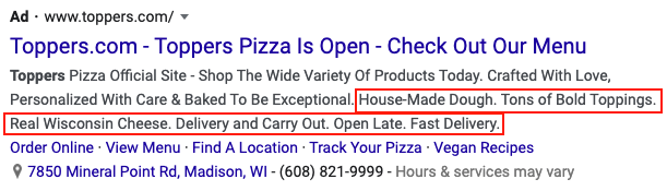 Screen shot of Google Ads Callout Extensions example