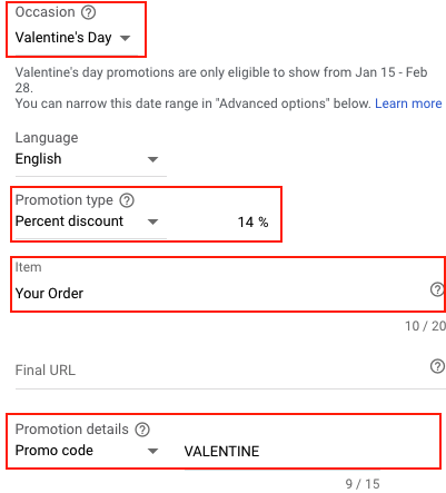 Screen shot of Google Ads Promotion Extension Template