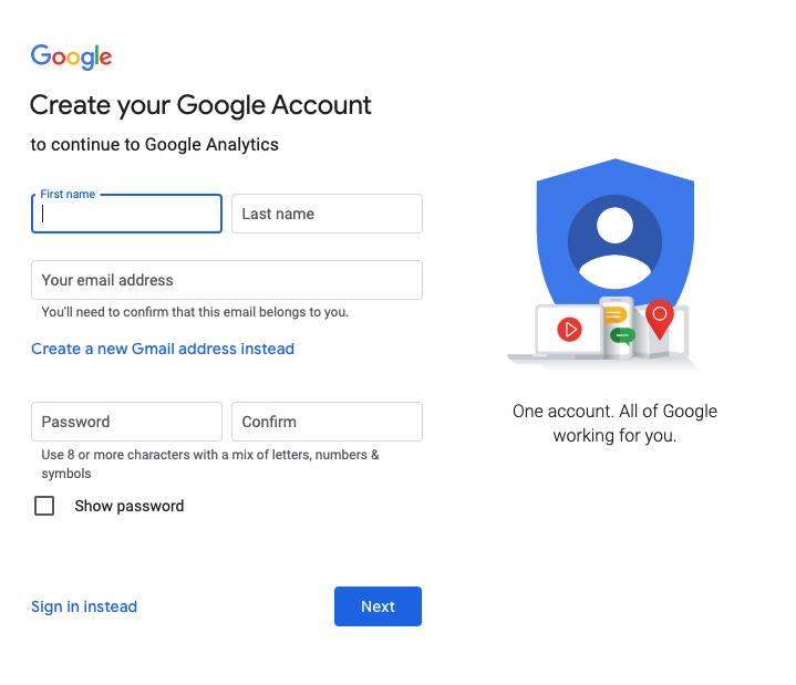 Google Analytics sign in screen